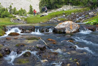 Fototapeta Rapid and wide cascade river Fast moving water vivid rocky stones and group of people walking on green meadow on background