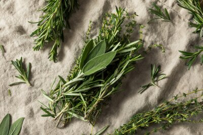 Fototapeta Raw Green Poultry Herbs with Rosemary