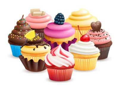 Fototapeta Realistic cupcakes with fruits, cream, chocolate, cherry vector illustration. Cupcake with blackberry, confectionery cake with chocolate