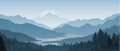 Fototapeta Realistic mountains landscape. Morning wood panorama, pine trees and mountains silhouettes. Vector forest hiking background