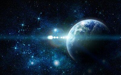 Fototapeta realistyczny Planeta Ziemia w przestrzeni