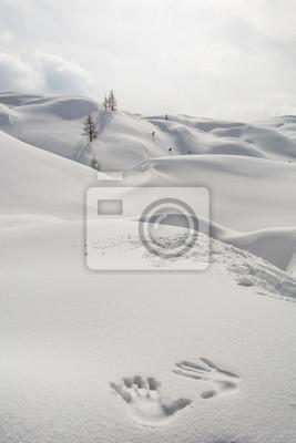 Fototapeta Ręce na śniegu