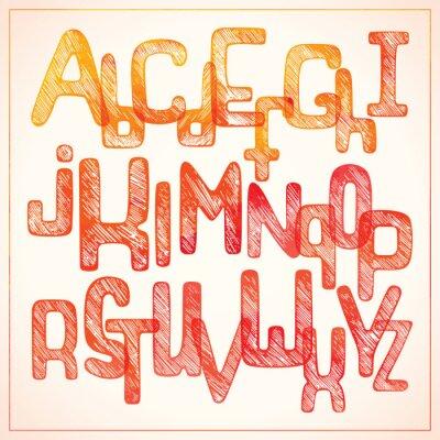 Fototapeta Ręczne pisanie czerwone alfabetu