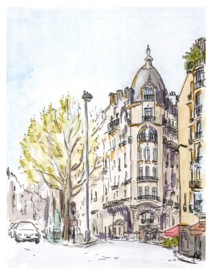 Fototapeta Ręcznie malowane kolor szkic paryskiej ulicy