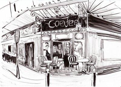 Fototapeta ręcznie narysować paris kawiarnia