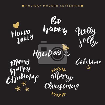 Fototapeta Ręcznie Pisane Cytaty świąteczne Kolekcja świątecznych Ręcznych