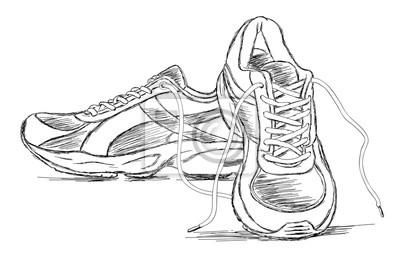 8eac4190455de Fototapeta Ręcznie robione buty sportowe trampki Szkic ilustracji  wektorowych