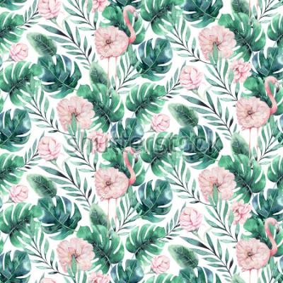 Fototapeta Ręcznie rysowane akwarela tropikalny ptak flamingo wzór. Egzotyczne ilustracje ptaków róży, drzewo dżungli, modna sztuka Brazylii. Idealny do projektowania tkanin. Aloha