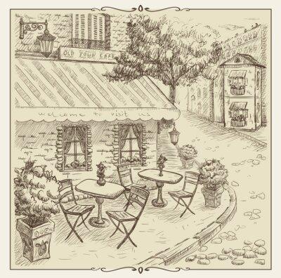 Fototapeta Ręcznie rysowane ilustracji, Street Cafe w starym mieście.