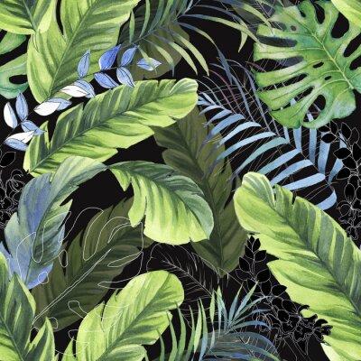 Fototapeta Ręcznie rysowane kolorowy wzór z akwarela liści palmowych, egzotycznych roślin i liści bananowych. Powtórzone lato