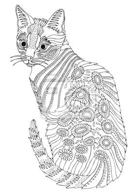 Ręcznie Rysowane Kot Bengalski Szkic Do Antystresowej Kolorowanki