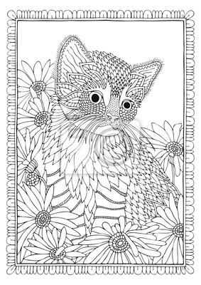 Ręcznie Rysowane Kot W Kwiaty Szkic Do Antystresowej Kolorowanki