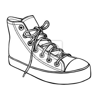 Fototapeta: Ręcznie rysowane szkic butów sportowych