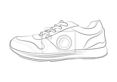 9a1cc653187 Fototapeta: Ręcznie rysowane szkic buty sportowe, trampki na lato.  ilustracja