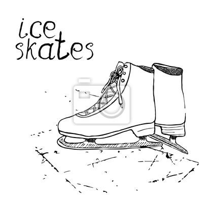 795308d7c8cee Fototapeta Ręcznie rysowane szkic łyżwy. Rysunek Sport doodle elementem  zimowych artykułów sportowych. na tablicy
