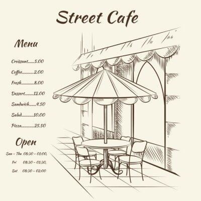Fototapeta Ręcznie rysowane tła ulicy cafe