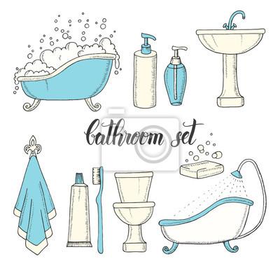 Ręcznie Rysowane Vintage Zestaw Obiektów Z łazienki Wanna Toaleta