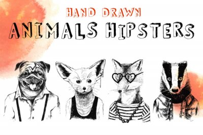 Fototapeta Ręcznie rysowane zwierzęta zestaw hipsters