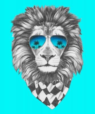 Fototapeta Ręcznie rysowany portret Lwa z okulary i szalik. Vector pojedyncze elementy.
