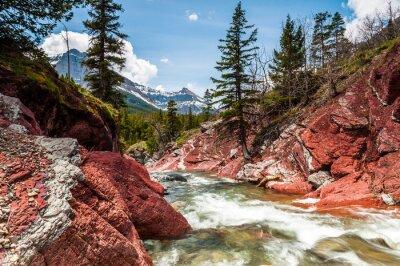 Fototapeta Red Rock Creek w ruchu i kanion