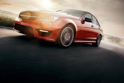 Fototapeta Red Sport Car Szybkie prędkości jazdy na drogach asfaltowych