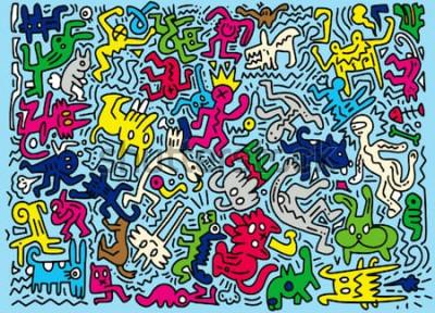 Fototapeta Ręka Rysująca Wektorowa ilustracja Doodle śmieszny zwierzę, ilustrator kreskowi narzędzia rysuje, Płaski projekt