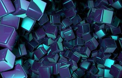 Fototapeta Renderowane 3D Cubes losowo rozmieszczone w przestrzeni, ciemny niebieski Kostki