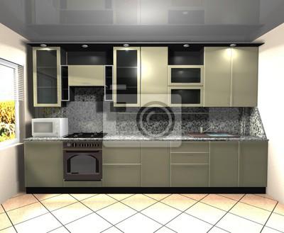 Fototapeta Renderowanie Wnętrza Kuchni Czarny Zielony 3d