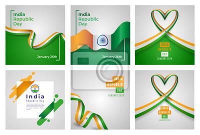 Fototapeta Republic of India Independence Day Vector Set of Templates Design Illustration
