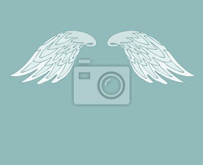 Fototapeta retro cartoon skrzydła anioła, skrzydła ilustracji wektorowych