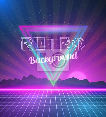 Retro disco 80s neon poster made in tron style with #2: retro disco 80s neon poster made in tron style with triangles f