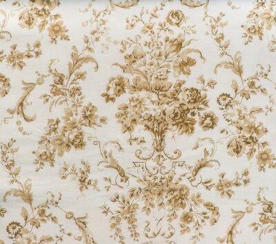 Fototapeta Retro koronki kwiatowy szwu Sepia Brown Fabric Kontekst Vintage Style