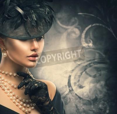 Fototapeta Retro portret kobiety. Vintage style girl noszenie staromodny kapelusz