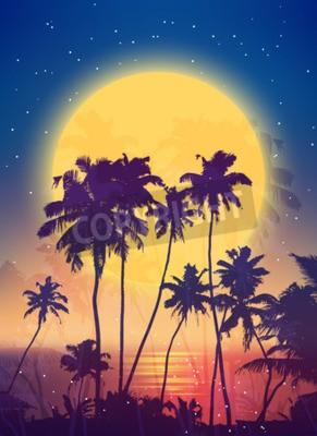 Fototapeta Retro styl pełen powstanie księżyca z palmy sylwetki wektora tle plakatu