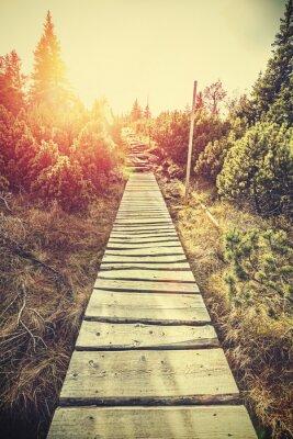 Fototapeta Retro stylizowane drewniane górskie ścieżki w górach na zachodzie słońca.