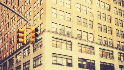 Fototapeta Retro stylizowane zdjęcie światłach w Nowym Jorku, płytkiej głębi ostrości.