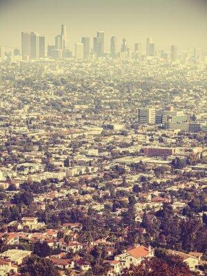 Fototapeta Retro stylizowany widok z lotu ptaka Los Angeles postrzegane przez smog, USA