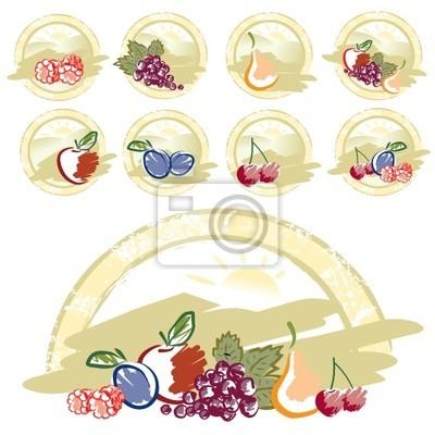 Retro zbiór owoców mieszanych