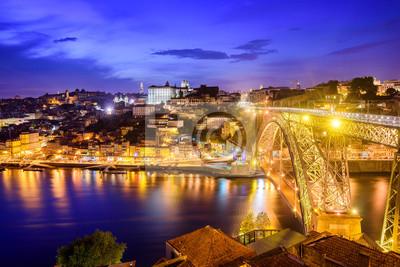 Fototapeta Ribeira i most Dom Luiz w nocy, Porto, Portugalia