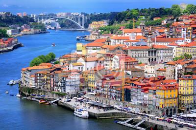 Fototapeta Ribeira, starego miasta Porto i rzeki Douro, Portugalia