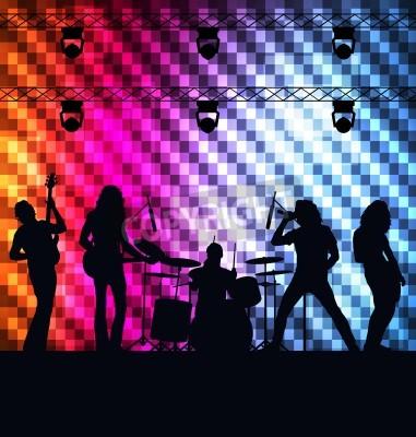 Fototapeta Rock Band tło wektor z neonów