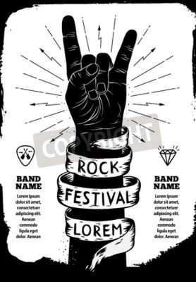 Fototapeta Rock Festival poster. Rock and Roll znak ręką