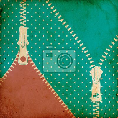 Fototapeta rocznika kropkowane tło z zamkiem błyskawicznym