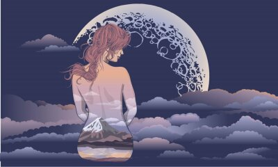 Fototapeta Romantyczna dziewczyna siedzi na tle księżyca. Body art girl, body painted with scenery. Romantyczna dziewczyna na tle księżyca i gwiezdnego nieba tatuaż i t-shirt projekt. kobieta siedzi w th