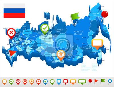 Rosja Mapa I Flaga Ilustracja Fototapeta Fototapety