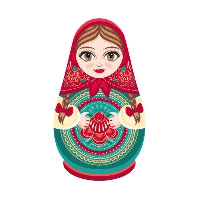 Fototapeta Rosyjski folk drewniane lalki. Babushka lalek. Ilustracji wektorowych na białym tle