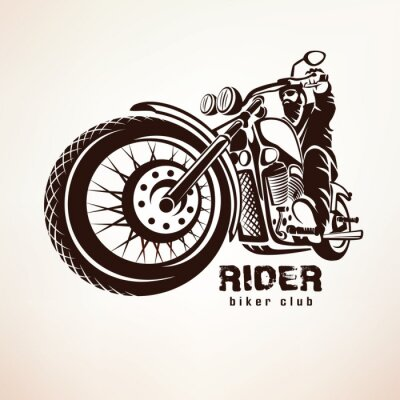 Fototapeta rowerzysta, motocykl grunge wektora sylwetka