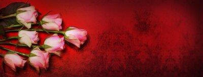 Fototapeta Róże, czerwony bokeh