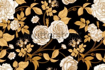 Fototapeta Róże, kwiaty, liście, gałęzie i jagody róży dla psów. Kwiatowy wzór vintage. Złoto, brak i biel. Styl orientalny. Sztuka ilustracji wektorowych. Do projektowania tekstyliów, papieru, tapet.