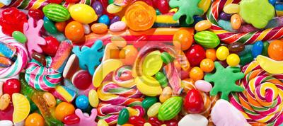 Fototapeta Różne kolorowe cukierki, galaretki, lizaki i marmolady